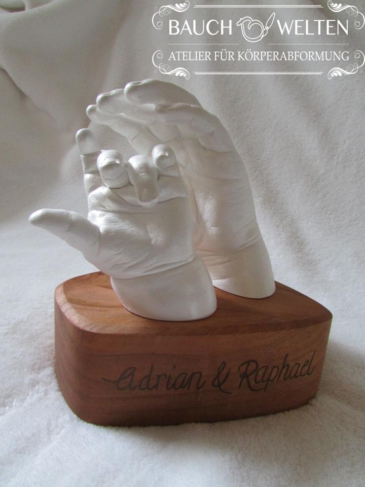 Adrian und Raphael - Geschwisterkinder Händeabformung